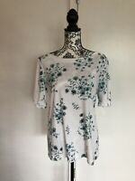 Croft Barrow Size XXL White Pullover Floral Blouse Short Sleeve Top