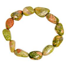 NEW Unakite Tumbled Real Gemstone Bracelet Stretchy Natural Stone One Size