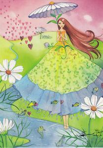 Postkarte: Heinemann - Frau mit Blumenschirm und Herzen / mit Glimmerlack