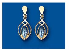 Topacio Azul Pendientes Oro Amarillo Natural Marquesita Gotas