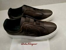 $630 New Salvatore Ferragamo Brown Leather Slide On Sneaker Shoes US 8 9,9.5& 11