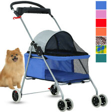 4 Wheels Folding Waterproof Portable Travel Pet Cat Dog Stroller Cup Holder 8012