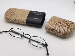 Braun Classics 102 F 3 Small Round Glasses Black High End 46-21 Medium + Case