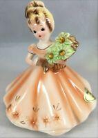 Vintage Josef Originals Doll Porcelain Ceramic Figurine November Topaz Rhinetone