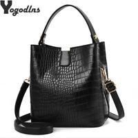 Women Lady Handbag Shoulder Messenger Retro Alligator Bucket Bag Bags Tote Purse