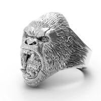 Ring For Men Gorilla Skull Skeleton Gothic Punk Rock Biker Stainless Steel @YXX