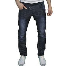 Enzo hombre diseñador marca Corte Recto Azul Marino Lavado Oscuro Jeans ,