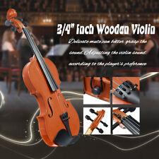 3/4 Acoustic Brown Violin + Case + Bow + 4 Strings for Kid Beginner Student