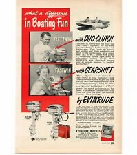 1950 Evinrude Fleetwin Fastwin Outboard Boat Motor Vintage Print Ad