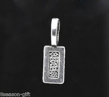 50 Silver Tone Tag Glue on Bail 21x7mm