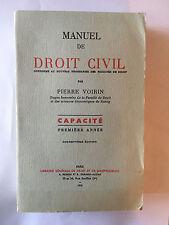 MANUEL DROIT CIVIL 1970 PIERRE VOIRIN CAPACITE VOL 1
