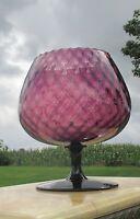 Large Vintage Purple Cranberry Chalice Vase Mid Century Hand blown Art glass