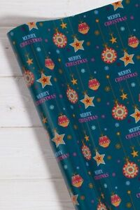 Brand New 18M Luxury Christmas Wrapping Paper Roll Red Blue Gold wrap Xmas 2021
