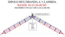 ANTENNA DIPOLO MULTIBANDA 10-40mt HF 10-15-20-40 (altre bande su richiesta)