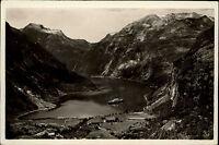 Geirangerfjord Norwegen Norge AK ~1930/40 Fjord Panorama Utsikt Berge See Schiff