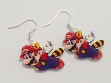 Super Mario Brothers Bros 3 Raccoon Earrings HANDMADE PLASTIC CHARMS Nintendo