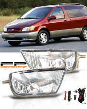 1998-2003 Toyota Sienna Clear Lens Bumper Driving Fog Lights Complete Kit Pair