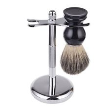 Deluxe Silver Razor and Brush Stand - Badger Shaving Brush - Chrome Finish NEW