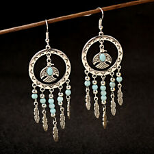 Vintage Bohemian Round Bird Pendant Tassels Bead Leaf Drop Ethnic Women Earrings