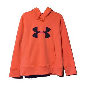 Under Armour Womens Neon Orange Semi-Fitted Hoodie Sweatshirt Size Small