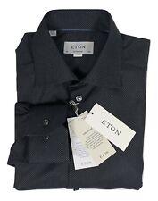 Bnwt ETON black dot cotton shirt contemporary fit size 15.75 / 40 RRP £169