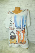 Italy New Collection T-Shirt weiß blau High Heels Jeans Gr. 36 38 40 42 blogger