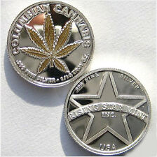 1/10th Troy Oz .999 Solid Fine Silver Gold Leaf Columbian Cannabis Coin free S&H