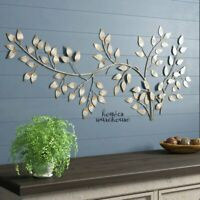 Tree Branch Metal Wall Art 5' FT Long Snowy Sculpture Hanging Accent Home Decor
