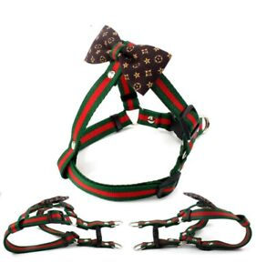 Luxury bowknot dog pet chest pul harness with the bow dog leash belt set XS SIZE