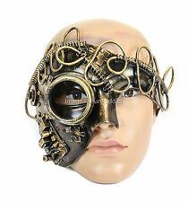 Burning Man Half Mask Steampunk Gear Halloween Costume Masquerade Mask-Gold