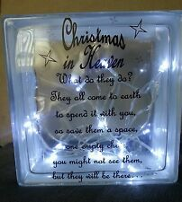 PERSONALISED Glass Block Christmas / Memorial Quote Fairy LED Lights Included