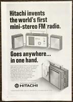 1968 Hitachi Mini Stereo FM Radio PRINT AD Goes Anywhere in One Hand