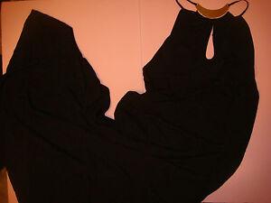 NWT Victoria's Secret S,L high-neck COVER UP gown dress long Black Gold jewel