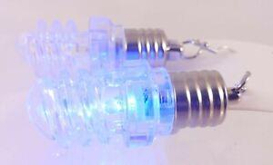Fashion Hook Dangle Earrings Lightup Flashing Multicolor Light Bulb Spiral Shape