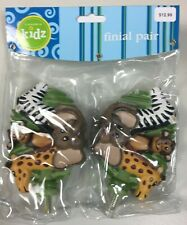 NEW Cambria Kids Jungle Palz Finials  Set of 2 Monkey Elephant Giraffe Zebra