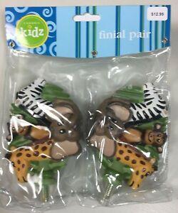 NEW Cambria Kids Jungle Palz Finials  Set of 2 Monkey Elephant Giraffe Zebra