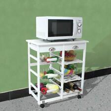 New listing Wooden Rolling Kitchen Island Trolley Cart Storage Shelf W/ Drawers Baskets