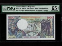 Central African Republic:P-10,1000 Francs,1980 * Water Buffalo * PMG Gem UNC 65