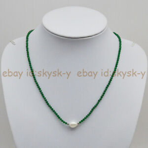 3mm Faceted Emerald/Ruby/Sapphire & 9-10mm White Baroque Pearl Necklace 18'' AAA