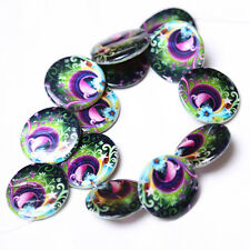 1Strand Flat Round Disc Peacock Faux Shell Bead 30mm Jewelry Findings Supplies D