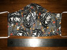 Halloween Pumpkins Black Cotton Face Mask, 2 fabric layers, fitted, reversible