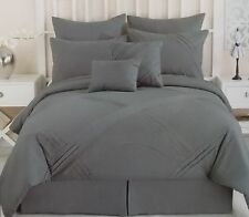 8 Pc Gray Grey Folded Pleat Comforter Bed Set ~ NEW King