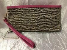Shiraleah Black Pink Tan Woven Straw Wristlet Cosmetic travel Bag zip case NEW