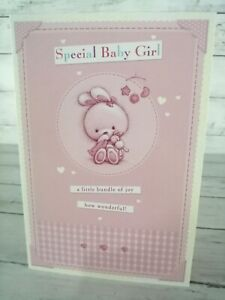 Special Baby Girl, New Baby Card, Cute Bunny Rabbit, Pink