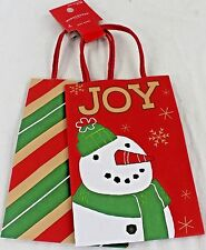 NEW Case of 96 Small Paper Gift Bags Christmas Joy Snowman Diagonal Stripes Red