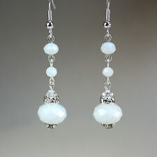 White crystal vintage silver wedding bridal bridesmaid long drop dangle earrings