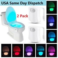 2 Pack Toilet Night Light 8 Color LED Motion Activated Sensor Bathroom Bowl Seat