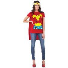 Wonder Woman T-shirt Headpiece Cape Adult Fancy Dress up Hero Costume Kit Small