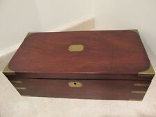 S38 antique mahagony writing box with lid pen and ink holder also drawer