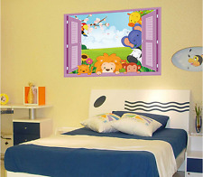 3D Jungle Wild Animals Window Wall Sticker DIY Kid Nursery Decor PVC Decal Mural